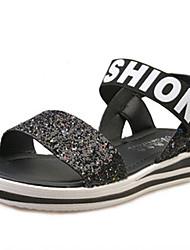 Zapatos de mujer-Tacón Bajo-Punta Abierta-Sandalias-Exterior / Casual / Vestido-PU-Negro / Plata / Oro
