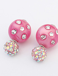 Fashion Candy Colored Rhinestones To Wear On Both Sides  Earrings