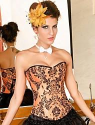 Damen Unterbrustkorsett / Brustkorsett / Übergröße Nachtwäsche,Sexy / Push-Up / Druck / Retro Blumen-Nylon / Polyester Orange Damen