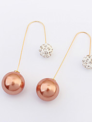 Simple And Elegant Refined Ultra-flash With Diamonds Earrings Pearl Ball Bridal Accessories