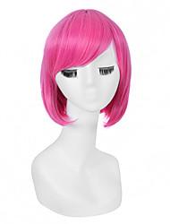 moda colore rosa breve lunghezza parrucche cosplay sintetiche
