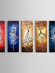 Hand-painted Abstract Ballet Dancer Oil Painting Restaurant 5 Piece/Set Wall Art Decor with Stretched Frame