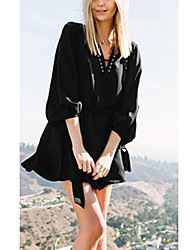 Tee-shirt Femme,Couleur Pleine Décontracté / Quotidien / Grandes Tailles simple ½ Manches Col en V Blanc / Noir Coton Fin