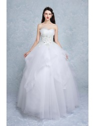 Ball Gown Wedding Dress Floor-length Sweetheart Tulle with Beading / Appliques