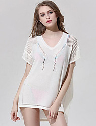 Women's Solid Simple Street chic Beach Casual Sexy Cut Out T-shirt,V Neck Short Sleeve