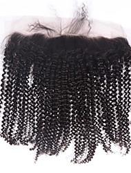 8 10 12 14 16 18 20inch Натуральный чёрный (#1В) Лента спереди / Изготовлено вручную Кудрявый Человеческие волосы закрытие