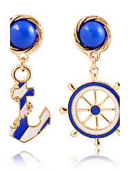 Fashion Texture Blue Navy Wind Anchor Exaggerated Personality Asymmetric Earrings
