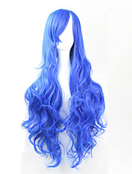Europe And The United States The New Color Long Curly Wig 80 CM High Temperature Sibao Blue Hair Wigs