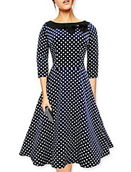 Women's Vintage 1950's Prom Retro Rockabilly Hepburn Pinup Cos Party Swing Butterfly Polka Dot Collared Dress
