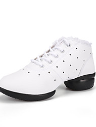 Non Customizable Women's Dance Shoes Leather Lace Modern Sneakers Chunky Heel Practice Black White