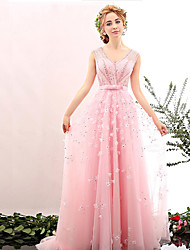 Formal Evening Dress Ball Gown V-neck Sweep / Brush Train Tulle with Beading