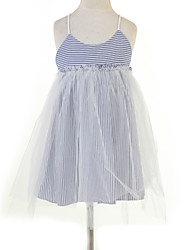 Girl's Jacquard Dress,Cotton Summer Blue / Pink