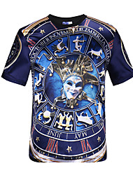 3D T-shirt Carnival Mask Clock Print Cosplay Costumes T-shirt Geeky Clothing Round Neck Short Sleeves For Male/Female