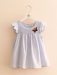 2016 New Cute Baby Girl Dress Cotton Striped Ruffle Dress Children Kids Clothing Dress