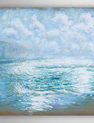 onda azul oceano óleo pintados à mão pintura de paisagem com moldura esticada arts® 7 parede