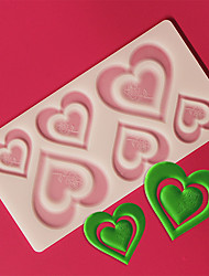 6 Pair Assorted Sized Love in Love Heart Shape Chocolate Plugin Mold for Cake Decoration Baking Mold Silicone Material