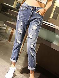 Pantalon Aux femmes Jeans Polyester Non Elastique
