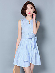 Women's Simple Striped A Line Dress,Stand Knee-length Cotton