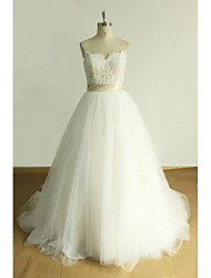 A-line Wedding Dress Court Train Sweetheart Tulle with Appliques