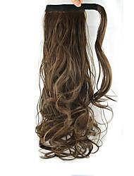 lumière boucles perruque brune longueur 60cm queue de cheval synthétique vague de corps haute température de couleur de fil 8