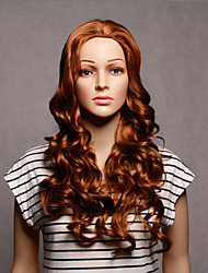 Capless Long Synthetic Brown Color Wavy Synthetic Womens Wigs