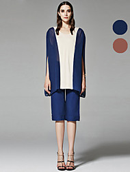 ZigZag® Da donna Rotonda Senza maniche Shirt & Camicetta Blu marina / Marrone - 11050
