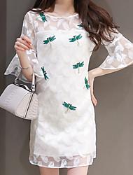Mulheres Reto Vestido,Happy-Hour Simples Estampado Decote Redondo Acima do Joelho Manga Curta Branco Poliéster Verão