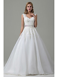 A-line Wedding Dress Court Train V-neck Lace / Organza with Bow / Lace