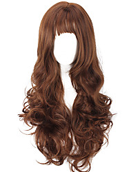 Synthetic Women Wig European Style Brown Long Wavy Curly Heat Resistant Hair Synthetic Wigs