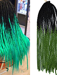 20inch Kanekalon Senegalese Braids Soft Dread Locks Synthetic Braidings Hair Black Ombre Green with Crochet Hook