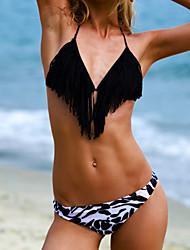Women's Bandeau Bikinis , Color Block / Tassels Padless Bra Polyester Blue / Red / Black