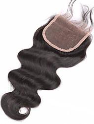 8 10 12 14 16 18 20inch Натуральный чёрный (#1В) Изготовлено вручную Естественные кудри Человеческие волосы закрытие Умеренно-коричневый