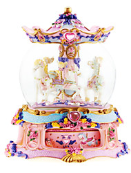 ABS Pink/Gold/White Creative Romantic Music Box for Gift