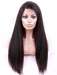 """8 """"-28"""" brasileño recto rizado de color de la peluca del frente del cordón sin cola de cabello natural bebé negro pelo virginal para las"""