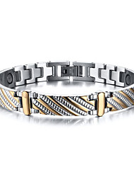 Magnetic Therapy Bracelet Men's Jewelry Health Care Silver Stainless Steel Bracelet Christmas Gifts