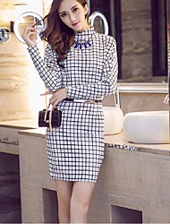 Women's Going out Simple Sheath Dress,Plaid Stand Above Knee Long Sleeve Black Polyester / Nylon Spring