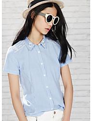 Meters/bonwe® Femme Col de Chemise Manche Courtes Shirt et Chemisier Bleu-225532