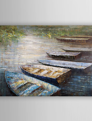 Hand Painted Oil Painting Landscape Boats on the Beach with Stretched Frame 7 Wall Arts®