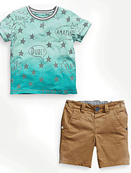 Boy's  Cotton Summer Fashion  Star Gradual Change  Printing Tee  Leisure Shorts Two-Piece Set