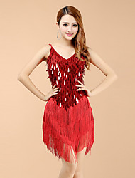 Robes(Rouge,Elasthanne,Danse latine)Danse latine- pourFemme Paillettes / Frange (s) Spectacle Danse latine Taille haute