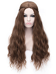 New Cartoon Wig Dark Brown Noodles Roll Cos 28 Inch