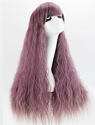 Europe And The United States With  Anime Wigs Purple Corn Hot Smoke Curls 28 Inch Long Hair Wigs
