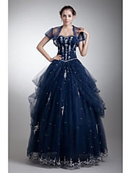 Formal Evening Dress Ball Gown Sweetheart Floor-length Tulle with Appliques / Beading / Side Draping