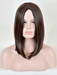 Long Brown Color Straight Hair European Synthetic Wig