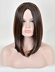 longue couleur brune cheveux raides perruque synthétique européenne