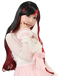 Women Long Body Wave Synthetic Hair Wig Black Mix Red Heat Resistant
