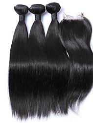 4pcs/lot Brazilian Virgin Hair Straight With Closure 3 Bundles Human Hair Weft With Closure Unprocessed Human Hair Weave