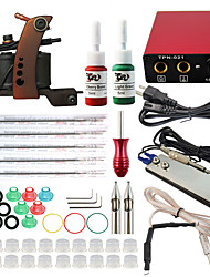 Professional Complete 1 Gun Tattoo Machine Kit 2PCS Ink Power Supply Needle Grips Tips