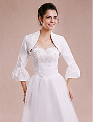 Women's Wrap Shrugs 3/4-Length Sleeve Taffeta White Wedding Party/Evening Beading