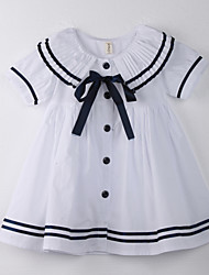Girl's Polka Dot Dress,Cotton Summer White
